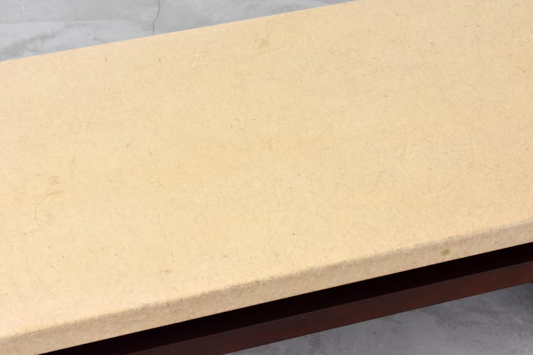 Paul Frankl, Low Coffee Table, Painted Cork, Stained Mahogany, 1940s America For Sale 2