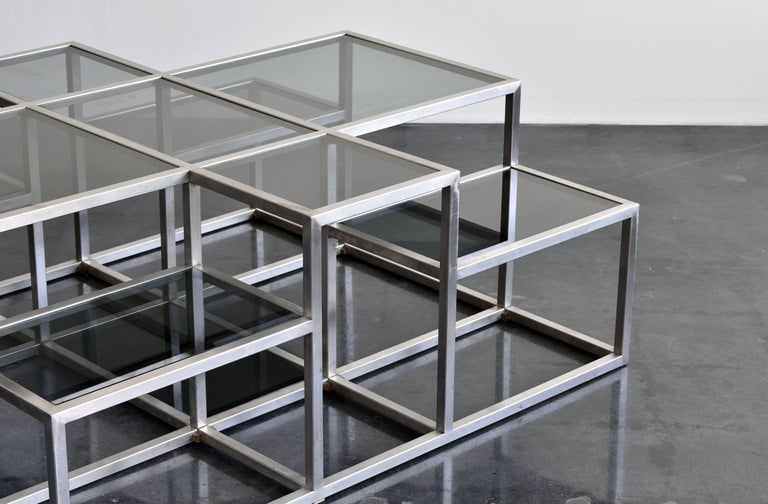 Minimalist Michel Boyer, Rare Minimal Coffee Table in Stainless Steel and Smoked Glass 1973 For Sale