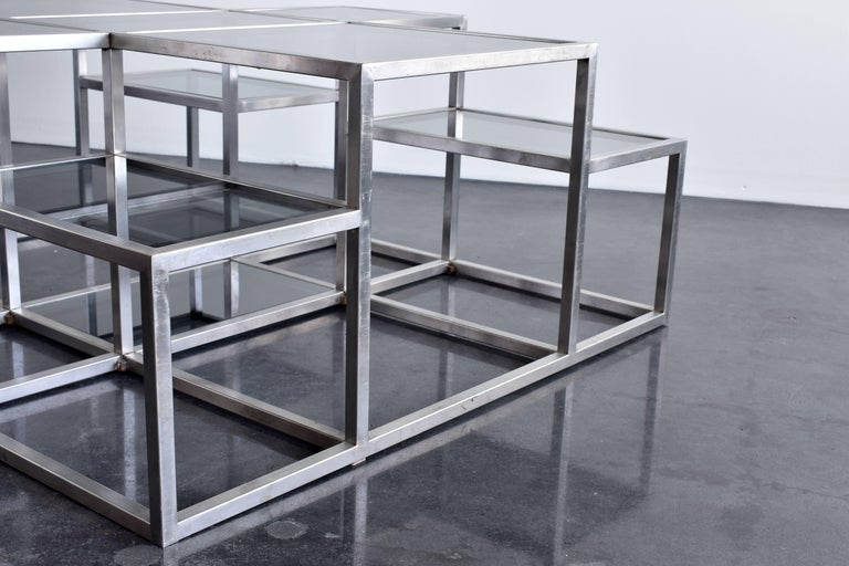 French Michel Boyer, Rare Minimal Coffee Table in Stainless Steel and Smoked Glass 1973 For Sale