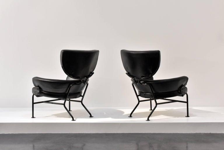 "Franco Albini, Pair of ""Tre Pezzi"" Lounge Chairs, Black Leather, 1959 Italian 3"