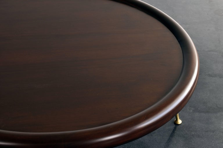 Mid-Century Modern T.H. Robsjohn-Gibbings, Round Coffee Table, Walnut, Brass Legs, 1950s Widdicomb For Sale