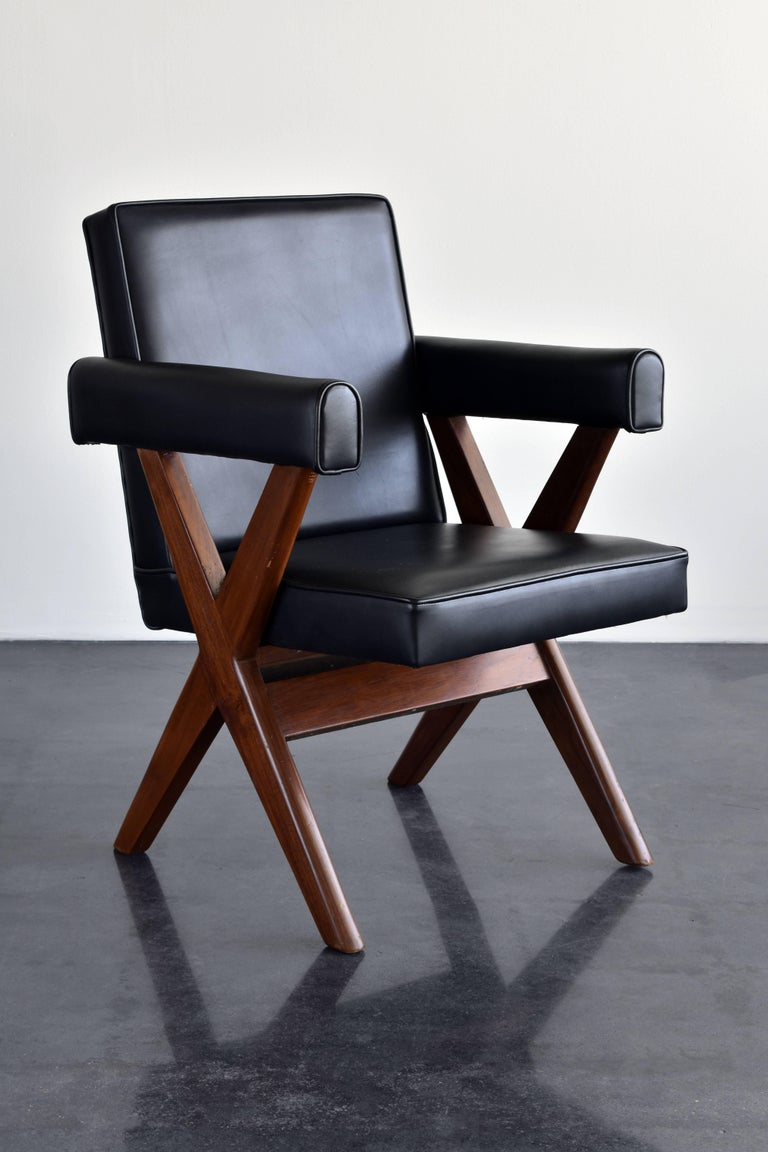 A pair of rare office chairs, model number: PSA/C/65/02, PSA/C/63/02. This model designed for the Panjab Secretariat Administrative Building, Chandigarh.   This series of furniture came into existance when Le Corbusier was commissioned to create