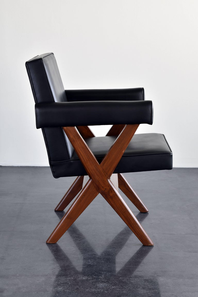 Mid-Century Modern Pierre Jeanneret, Pair of Office Chairs, Teak and Black Leather, 1960 For Sale