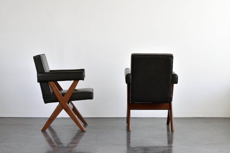 Indian Pierre Jeanneret, Pair of Office Chairs, Teak and Black Leather, 1960 For Sale