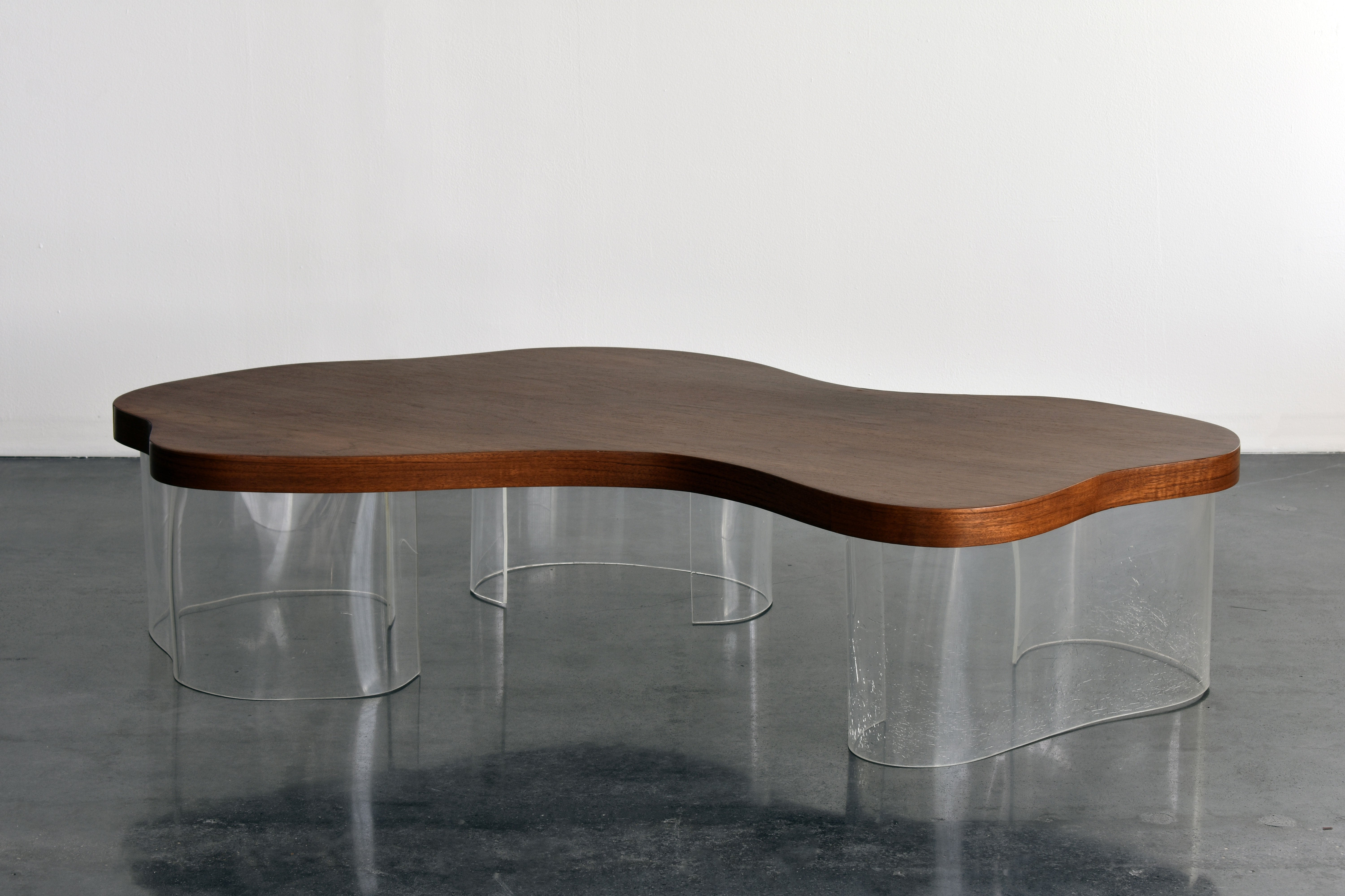 Organic Coffee Table In Walnut And Lucite American Design Circa 1950s At 1stdibs