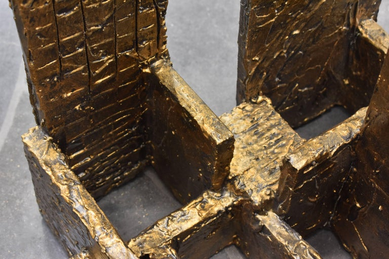 Paul Evans, Brass Colored Sculpted Coffee Table, Studio, 1970