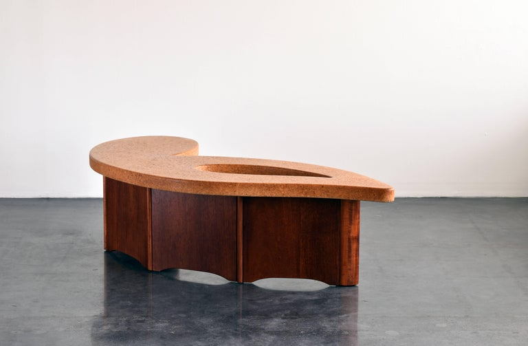 Mid-Century Modern Paul Frankl, Organic Coffee Table, Cork Top, Mahogany Base, 1950s For Sale