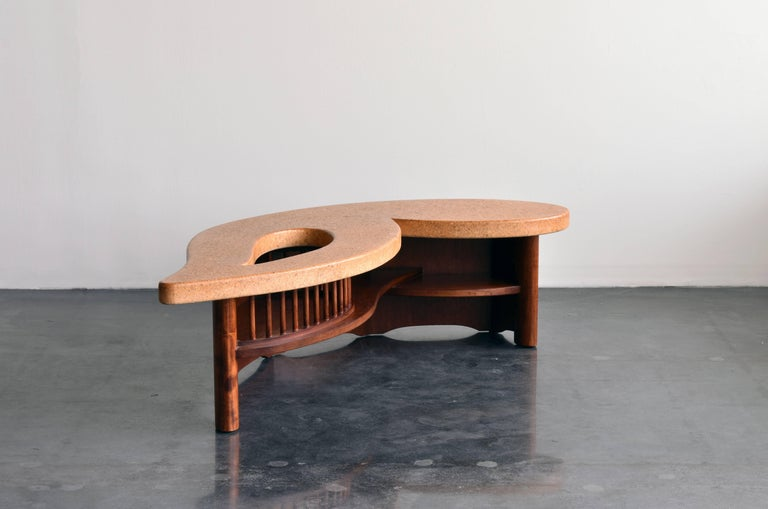 American Paul Frankl, Organic Coffee Table, Cork Top, Mahogany Base, 1950s For Sale