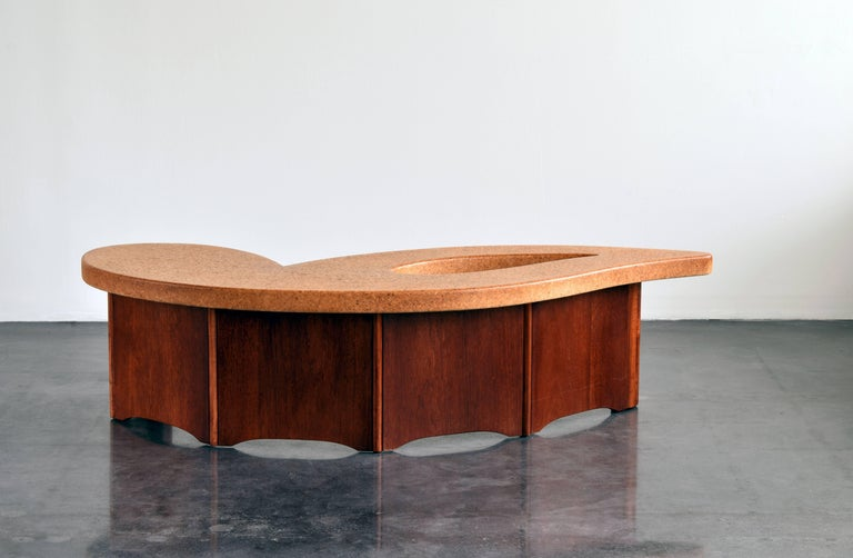 Paul Frankl, Organic Coffee Table, Cork Top, Mahogany Base, 1950s In Excellent Condition For Sale In West Palm Beach, FL