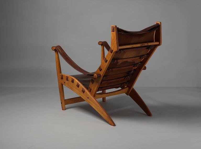 Scandinavian Modern Mogens Voltelen, Copenhagen Lounge Chair II, Oak, Natural Brown Leather, 1960 For Sale