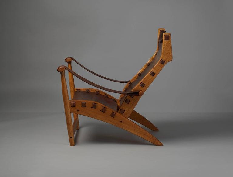 Danish Mogens Voltelen, Copenhagen Lounge Chair II, Oak, Natural Brown Leather, 1960 For Sale