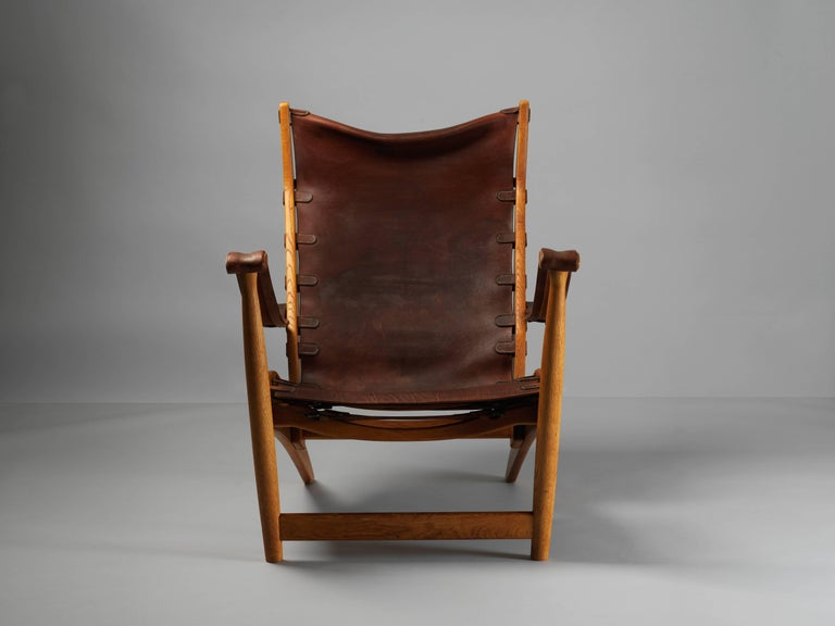Mogens Voltelen, Copenhagen Lounge Chair II, Oak, Natural Brown Leather, 1960 In Good Condition For Sale In West Palm Beach, FL