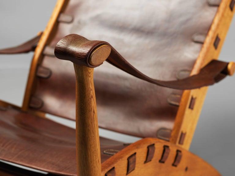 Mid-20th Century Mogens Voltelen, Copenhagen Lounge Chair II, Oak, Natural Brown Leather, 1960 For Sale