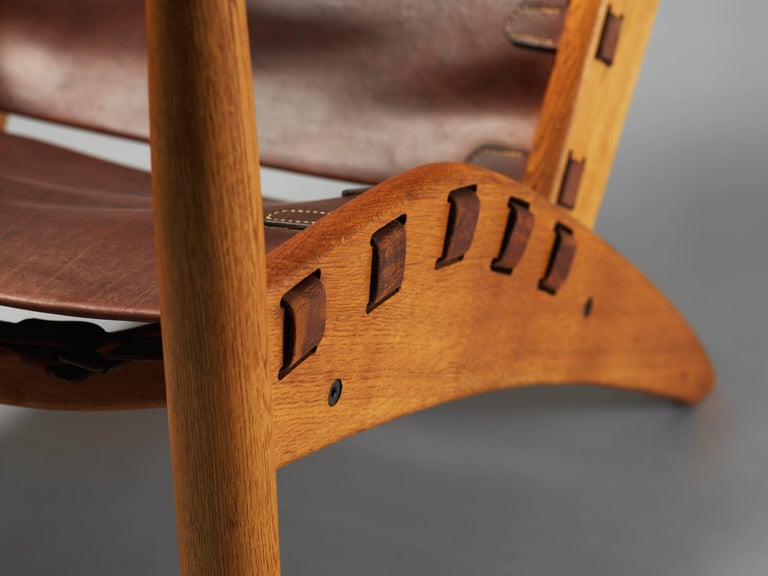 Mogens Voltelen, Copenhagen Lounge Chair II, Oak, Natural Brown Leather, 1960 For Sale 1
