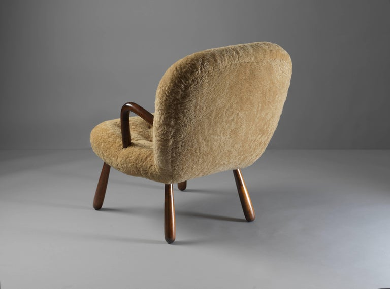 Danish Philip Arctander ( attributed) Clam Armchair Lambskin and Stained Wood, 1940s For Sale