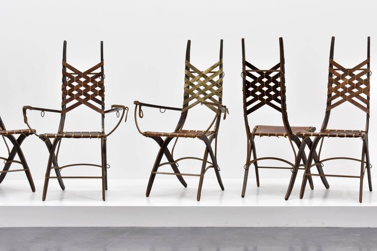 Italian Alberto Marconetti, Six Dining Chairs, Iron, Oak, Leather, Italy, circa 1960 For Sale