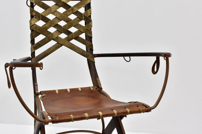 Alberto Marconetti, Six Dining Chairs, Iron, Oak, Leather, Italy, circa 1960 In Excellent Condition For Sale In West Palm Beach, FL