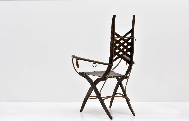 Mid-Century Modern Alberto Marconetti, Six Dining Chairs, Iron, Oak, Leather, Italy, circa 1960 For Sale