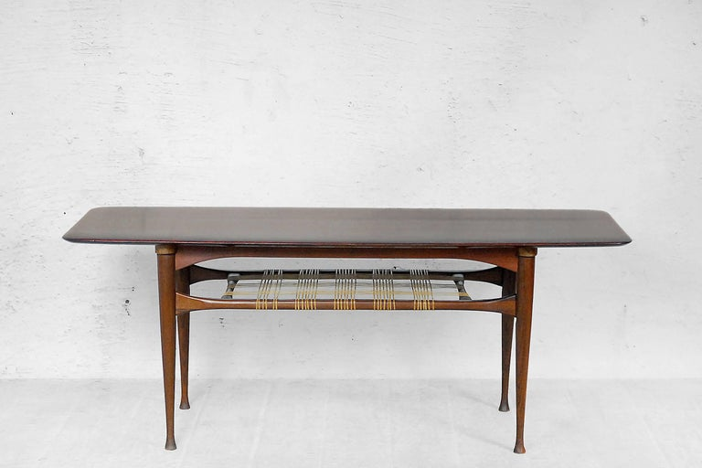 Danish Teak Coffee Table With Cane Shelf 1960s For Sale At 1stdibs
