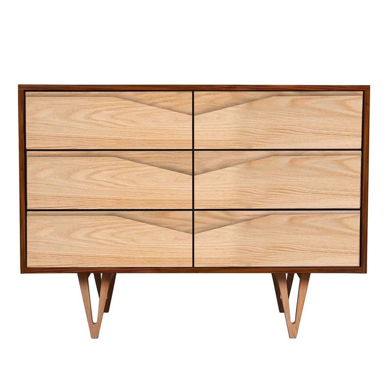 Harrison Mid-Century Modern Styled Chest of Drawers in Solid Ash and Walnut