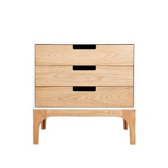 Coco Chest of Drawers in Solid Ash with Contrasting White Lacquered Box Case