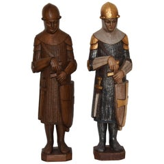 Antique Large Medieval Crusader Knight Sculptures, Carved Wood and Polychrome