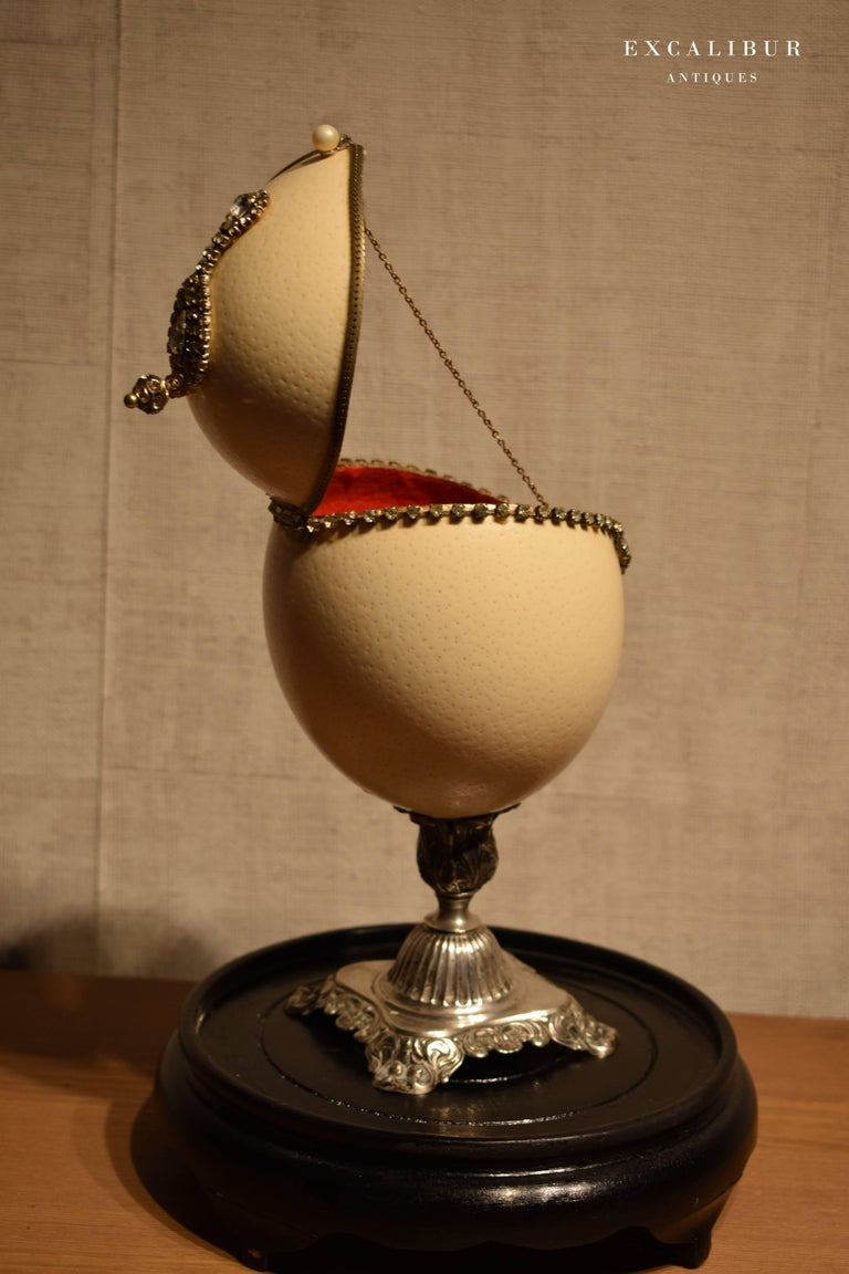 German Antique Mounted Ostrich Egg Box Decorated with Rhinestones under a Glass Dome For Sale