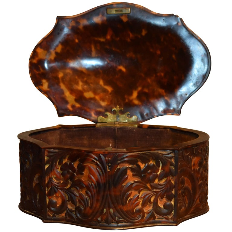 Antique Carved Faux Tortoiseshell Jewelry Box For Sale