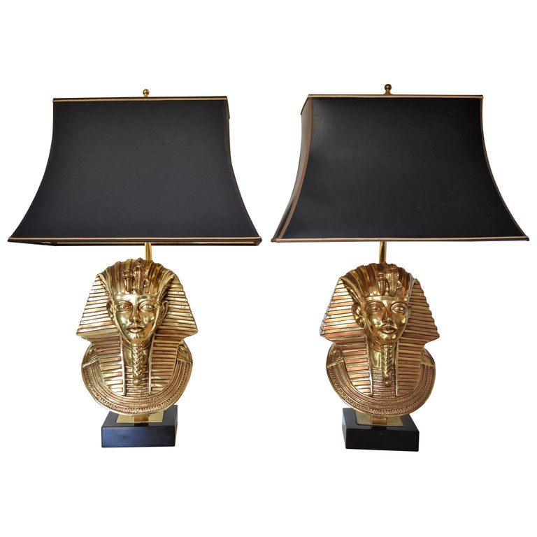 Pharaoh Table Lamps, Hollywood Regency, circa 1970 For Sale