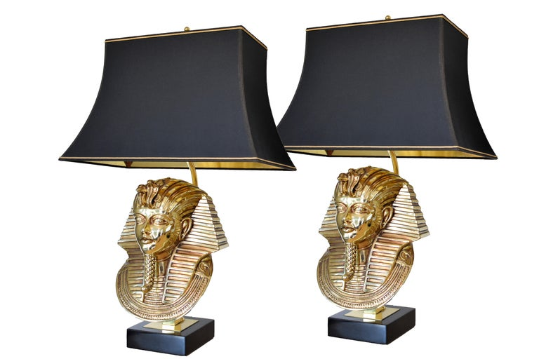 Belgian  Pharaoh Table Lamps, Hollywood Regency, circa 1970 For Sale
