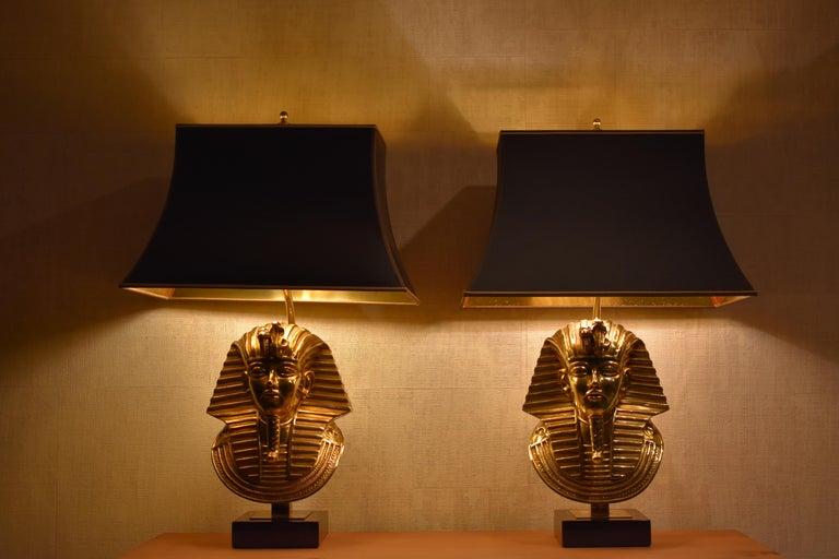 Gilt  Pharaoh Table Lamps, Hollywood Regency, circa 1970 For Sale
