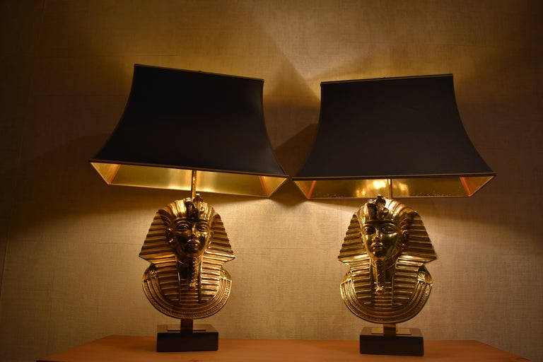 Pharaoh Table Lamps, Hollywood Regency, circa 1970 In Good Condition For Sale In Amsterdam, NL
