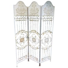 Vintage French Wrought Iron Folding Screen or Room Divider
