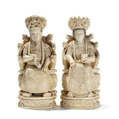 Large Pair of Antique Chinese Hand-Carved Ivory Emperor and Empress Figures