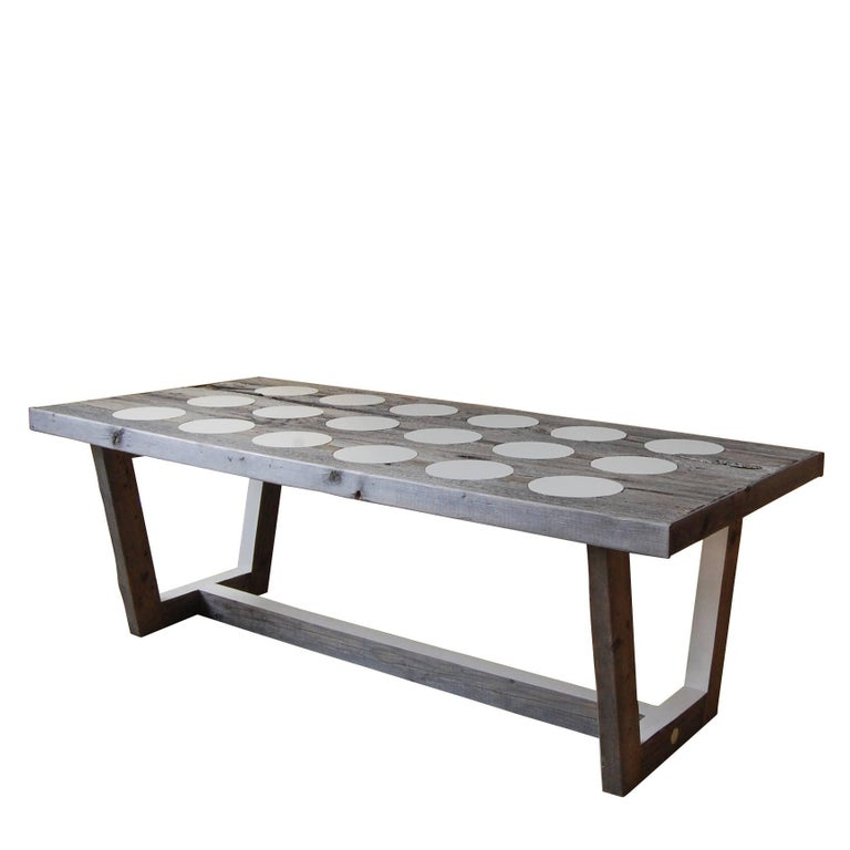Reclaimed Wood Dots Marquetry Coffee Table
