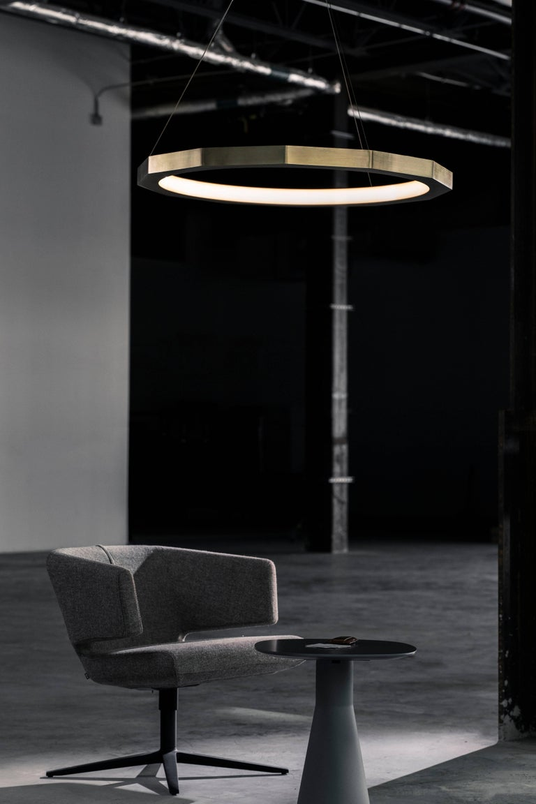 Dodeca - a nod to the Greek word for 12 - is a ring forged of facets that juxtapose wonderfully with the soft glow emanating from the inner crown. With a warm LED glow, Dodeca is a fixture known for coming to life when turned on, yet remains an