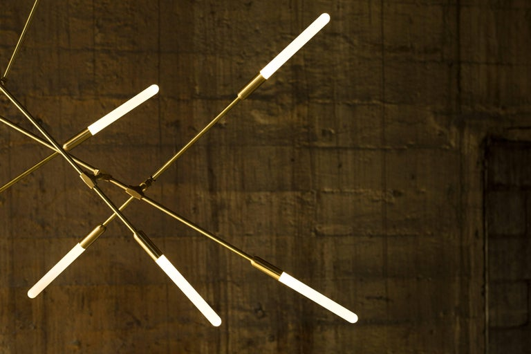 Modern Dawn 16V Brushed Brass Chandelier by Matthew McCormick Studio For Sale