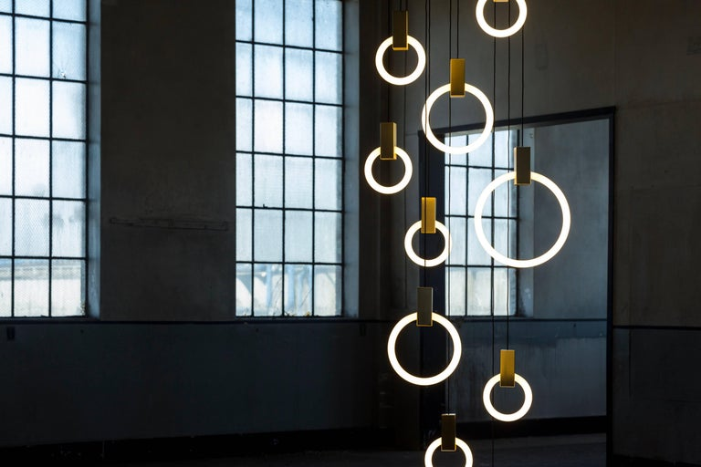 Originally conceived as a graphical interpretation of effervescence, Halo is a series of bold lamps inspired by the warm glow of their illuminaire. The modularity of the Halo system allows the pendants to be suspended in a multitude of compositions,
