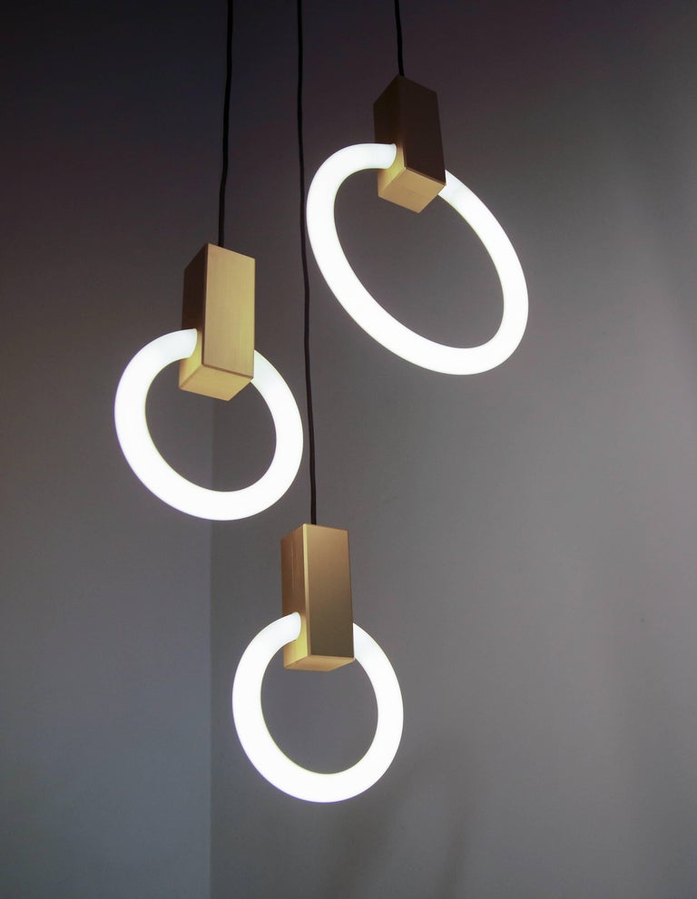 Contemporary Halo C9 Brushed Brass Round Chandelier (standard) by Matthew McCormick Studio For Sale