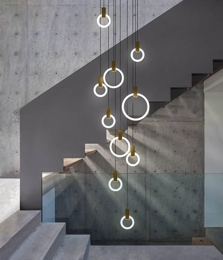 Aluminum Halo C9 Brushed Brass Round Chandelier (standard) by Matthew McCormick Studio For Sale