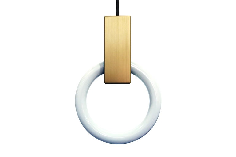 Halo C9 Brushed Brass Round Chandelier (standard) by Matthew McCormick Studio For Sale 1