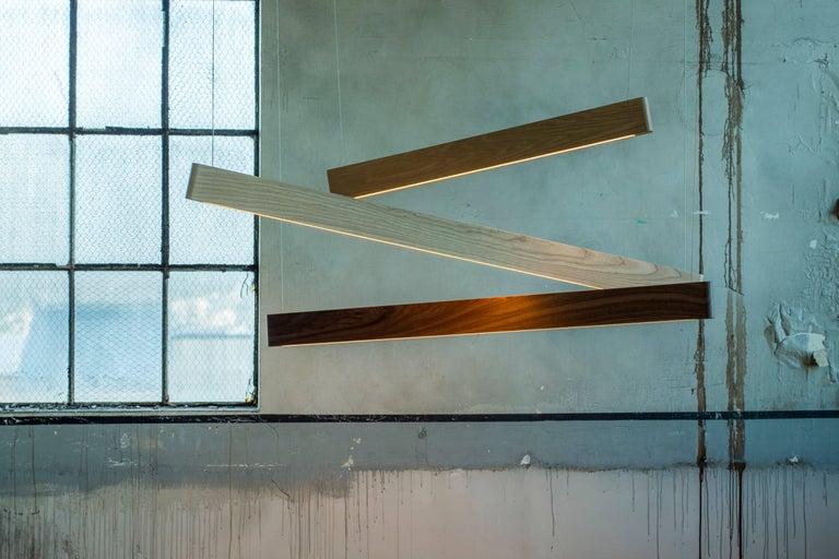 Modern Line Light 606060 White Ash 'X' by Matthew McCormick Studio For Sale