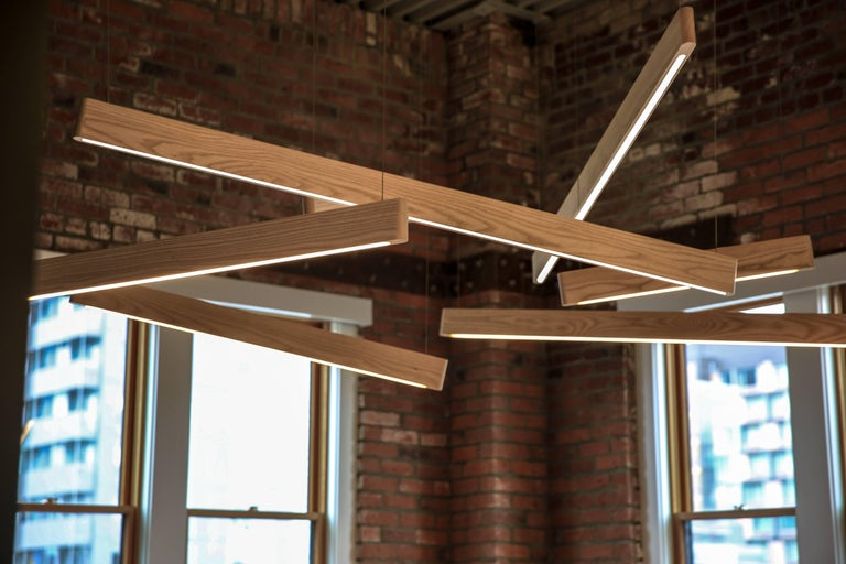 Line Light 606060 White Ash 'X' by Matthew McCormick Studio In Excellent Condition For Sale In Vancouver, CA