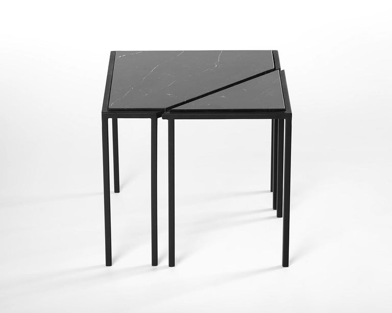 International Style Split Side Table, by Rain, Contemporary Side Table, Stainless Steel and Marble For Sale
