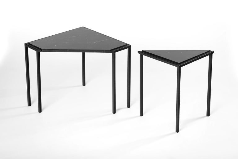 Brazilian Split Side Table, by Rain, Contemporary Side Table, Stainless Steel and Marble For Sale