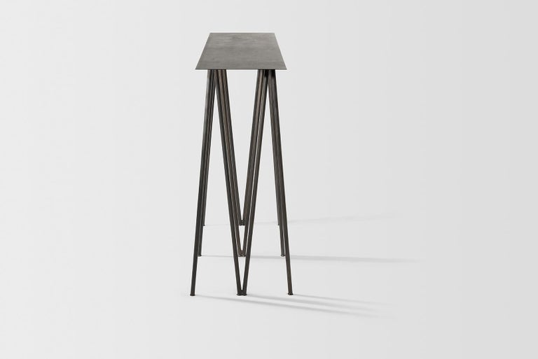 Paper Table L in Stained Black Steel Finish by UMÉ Studio For Sale 1
