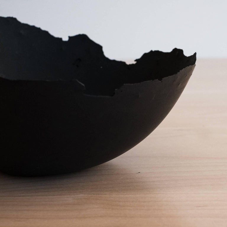 Handmade Cast Concrete Bowl in Black by UMÉ Studio In New Condition For Sale In Oakland, CA