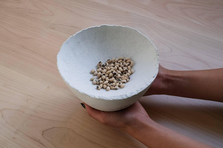 Handmade Cast Concrete Bowl in White by UMÉ Studio In New Condition For Sale In Oakland, CA