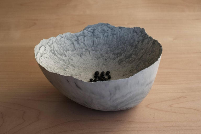 Handmade Cast Concrete Bowl in Grey by UMÉ Studio In New Condition For Sale In Oakland, CA