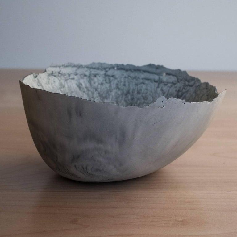 Handmade Cast Concrete Bowl in Grey by UMÉ Studio For Sale 3